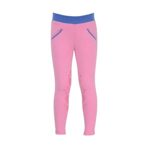 HyPERFORMANCE Little Rider Glitter Leggings in Cameo Pink/Regatta Blue
