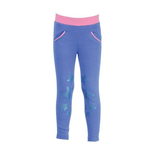 HyPERFORMANCE Little Rider Glitter Leggings in Regatta Blue/Cameo Pink