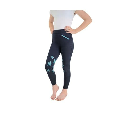 HyPerformance Theodora Children's Riding Tights in Navy/Teal