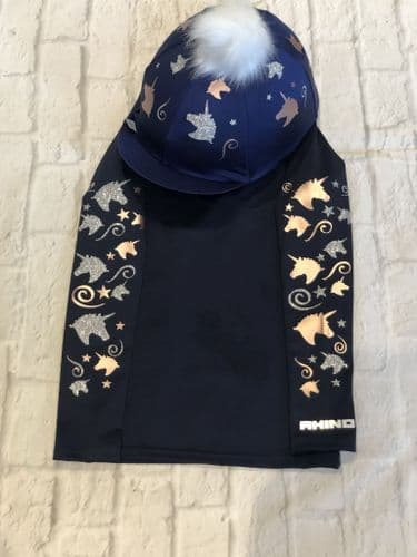 Magical Unicorn Navy Base Layer & Hat Cover Set