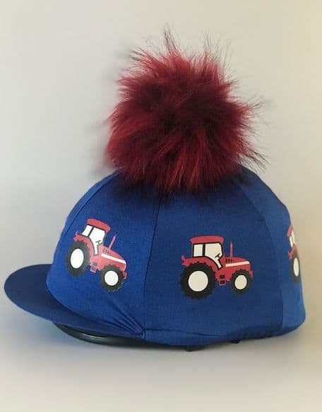 Pompop Children's Royal/Red Tractor Hat Cover with Removable Pompom