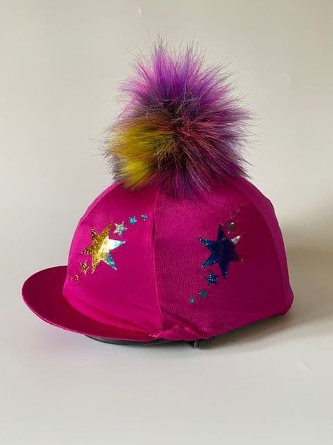 Pompops Children's Cerise Rainbow Starburst Hat Cover with Removable Pompom