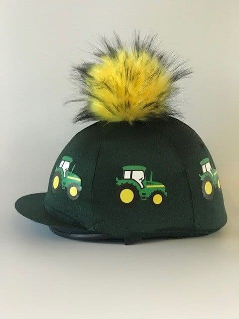 Pompops Children's Green/Green Tractor Hat Cover with Removable Pompom