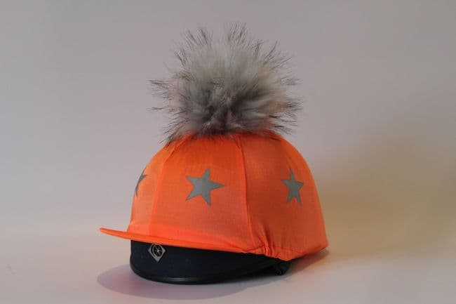 Pompops Children's Hi-Viz Stars Hat Cover in Orange with Removable Pompom