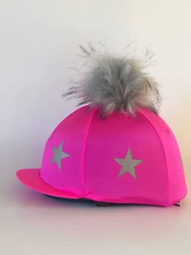 Pompops Children's Hi-Viz Stars Hat Cover in Pink with Removable Pompom