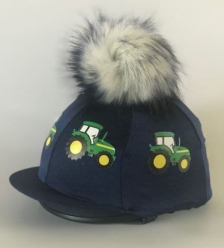 Pompops Children's Navy/Green Tractor Hat Cover with Removable Cream/Blue Tip Pompom