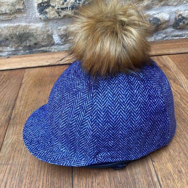 Pompops Children's Tweed Hat Cover in Navy with Removeable  Raccoon Pompom
