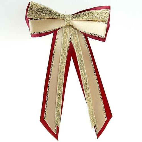 ShowQuest Hairbow & Tails in Burgundy/Cream/Gold