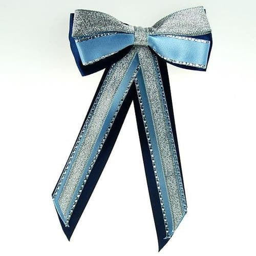 ShowQuest Hairbow & Tails in Navy/Blue/Silver