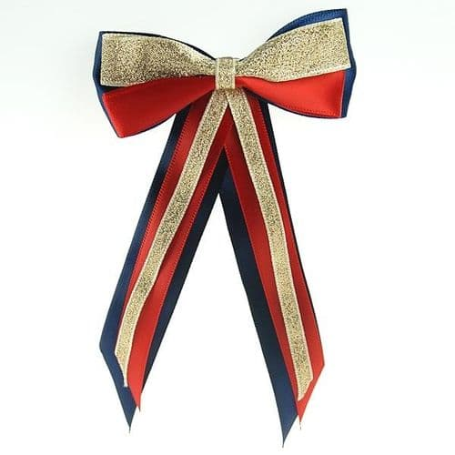 ShowQuest Hairbow & Tails in Navy/Red/Gold