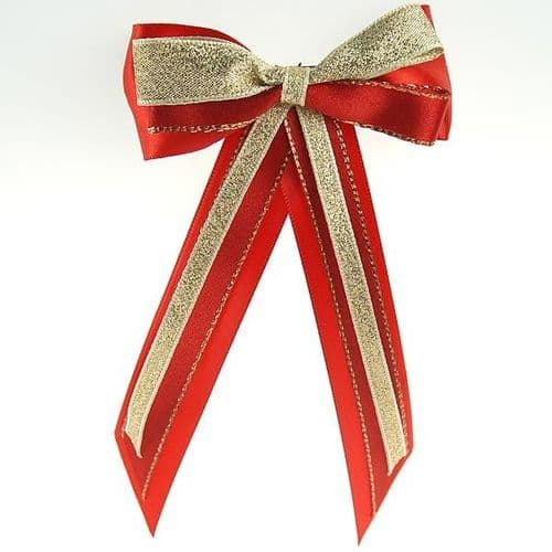 ShowQuest Hairbow & Tails in Red/Red/Gold