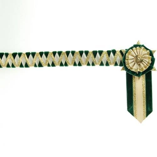 ShowQuest Ludlow Pony Browband in Bottle/Cream/Gold