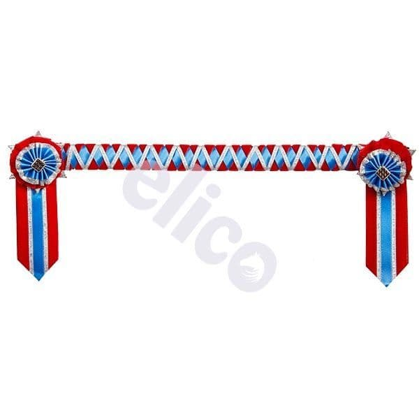 ShowQuest Ludlow Pony Browband in Red/Mid Blue/Silver