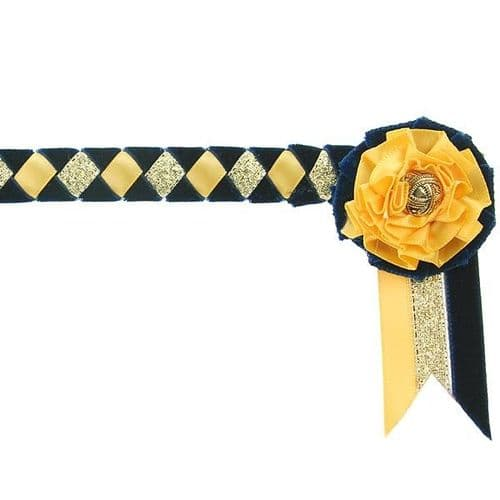 ShowQuest Newport Pony Browband in Navy/Sunshine/Gold
