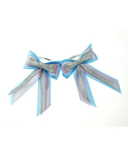 ShowQuest Piggy Bow & Tails in Blue/Pink/Silver
