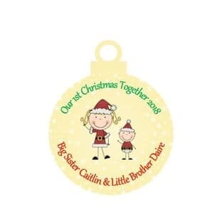 1st Christmas Together Big Sister Little Brother Acrylic Christmas Ornament Decoration