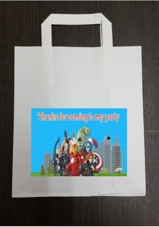 4 x Avengers Birthday Party Bags with Personalised Sticker