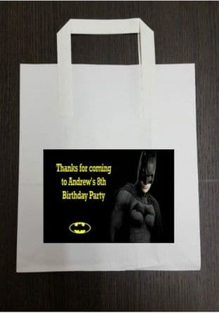 4 x Batman Birthday Party Bags with Personalised Sticker