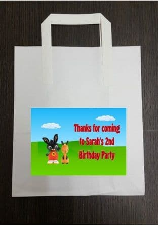 4 x Bing Birthday Party Bags with Personalised Sticker