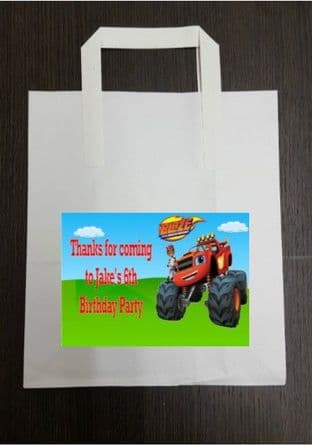 4 x Blaze Birthday Party Bags with Personalised Sticker