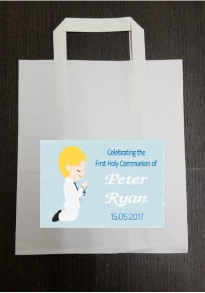4 x Blonde Hair Boy Communion Party Bags with Personalised Sticker
