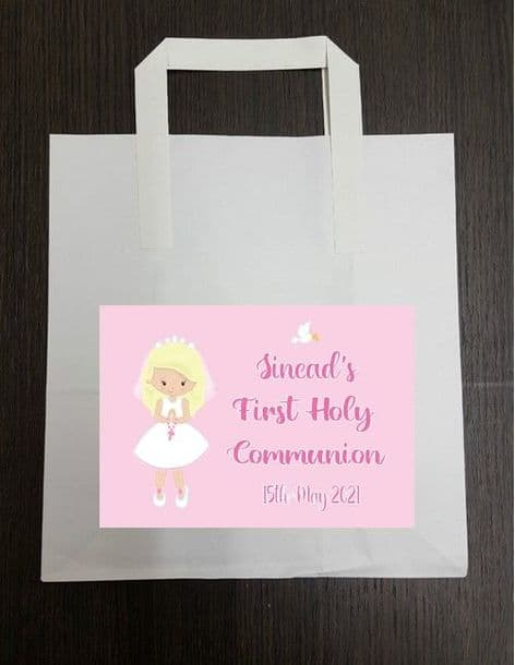4 x Blonde Hair Girl Communion Party Bags with Personalised Sticker 2