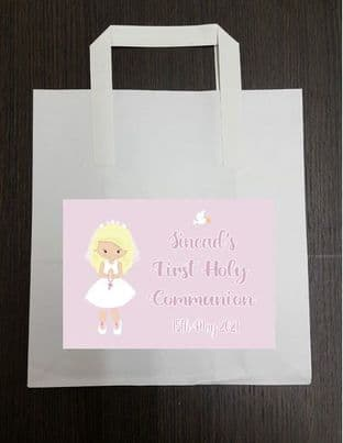 4 x Blonde Hair Girl Communion Party Bags with Personalised Sticker 3