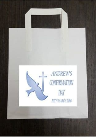 4 x Blue Confirmation Party Bags with Personalised Sticker Design 2