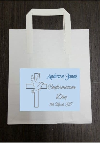 4 x Blue Confirmation Party Bags with Personalised Sticker Design 3