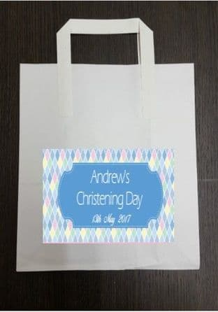 4 x Blue Diamond Design Party Bags with Personalised Sticker