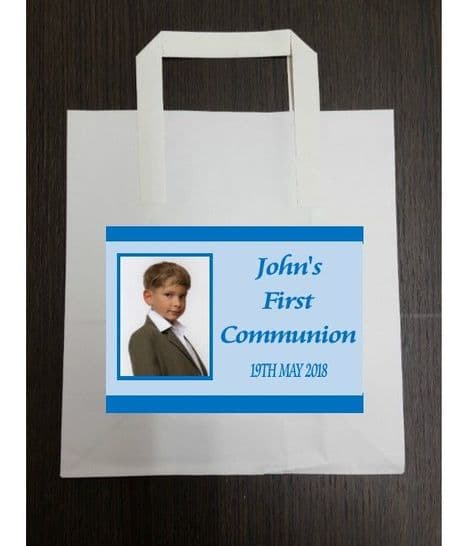 4 x Blue Photo Communion Party Bags with Personalised Sticker