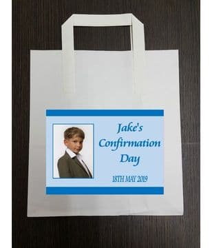 4 x Blue Photo Confirmation Party Bags with Personalised Sticker