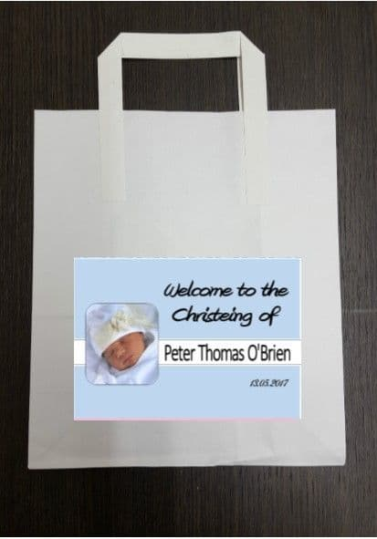 4 x Blue Photo Design Party Bags with Personalised Sticker