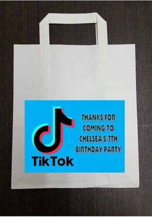 4 x Blue Tiktok Birthday Party Bags with Personalised Sticker