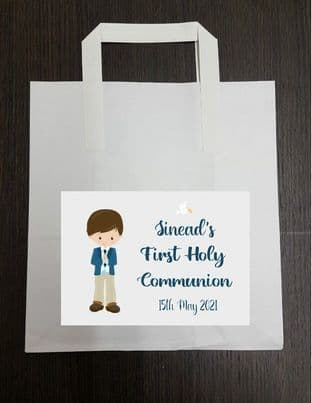 4 x Brown Hair Boy Communion Party Bags with Personalised Sticker 2