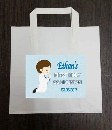 4 x Brown Hair Boy Communion Party Bags with Personalised Sticker
