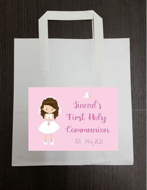 4 x Brown Hair Girl Communion Party Bags with Personalised Sticker 2