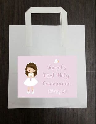 4 x Brown Hair Girl Communion Party Bags with Personalised Sticker 3