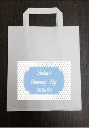 4 x Coloured Polka Dot Blue Design Party Bags with Personalised Sticker