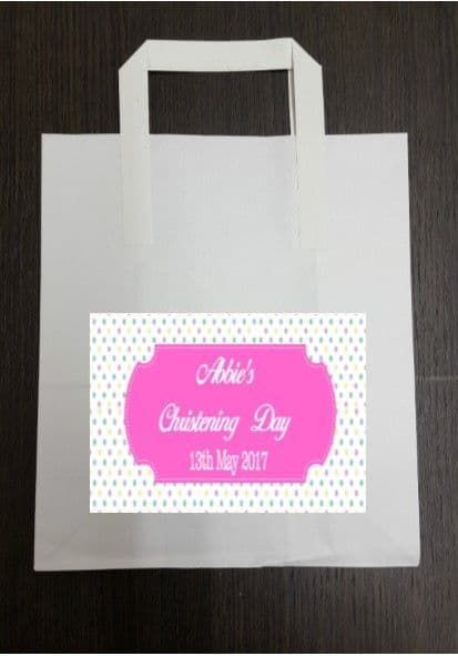 4 x Coloured Polka Dot Pink Design Party Bags with Personalised Sticker