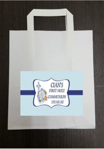 4 x Communion Party Bags with Personalised Sticker Blue Design 1