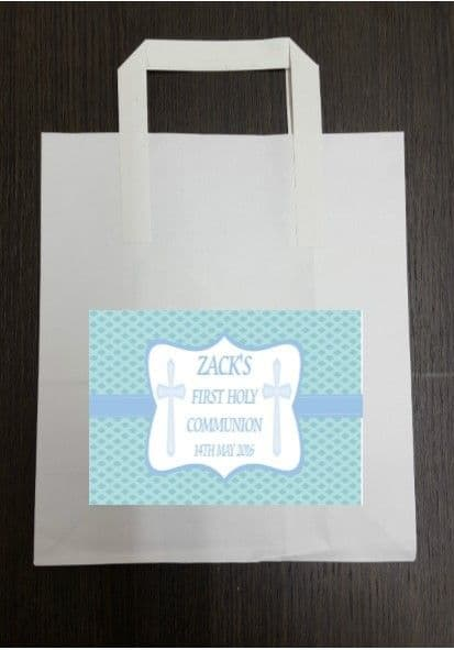 4 x Communion Party Bags with Personalised Sticker Blue Design 2