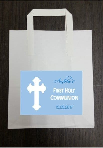 4 x Communion Party Bags with Personalised Sticker Blue Design 3