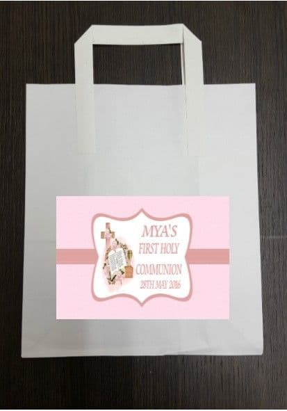 4 x Communion Party Bags with Personalised Sticker Pink Design 1
