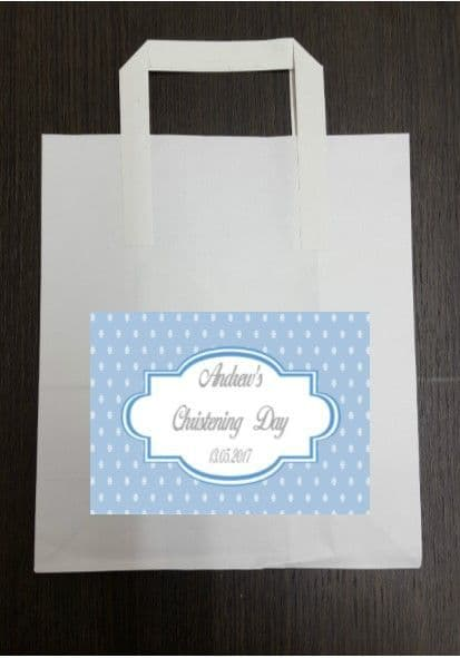 4 x Dark Blue Party Bags with Personalised Sticker