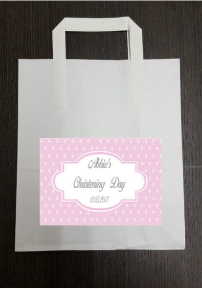4 x Dark Pink Party Bags with Personalised Sticker