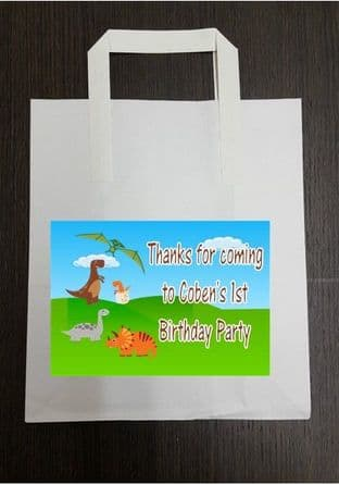 4 x Dinosaurs Birthday Party Bags with Personalised Sticker