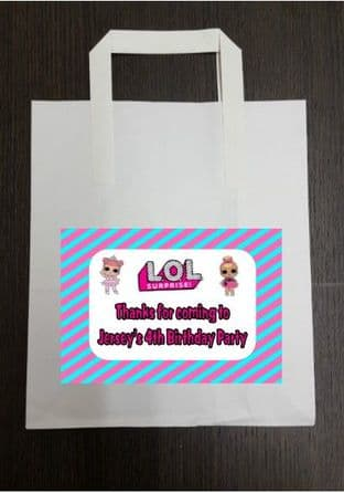 4 x LOL Surprise Dolls Birthday Party Bags with Personalised Sticker
