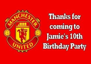 4 x Manchester Utd Birthday Party Bags with Personalised Sticker