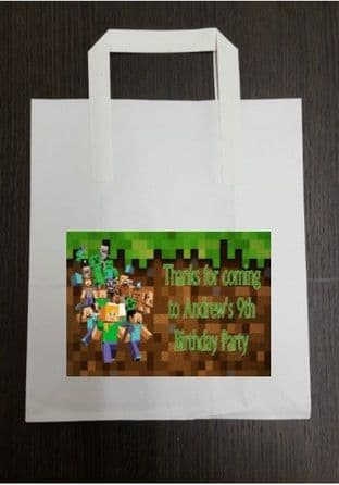 4 x Minecraft Birthday Party Bags with Personalised Sticker